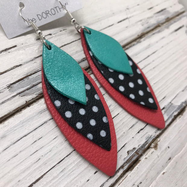 DOROTHY - Leather Earrings  ||  PEARLIZED AQUA, BLACK WITH WHITE POLKADOTS, MATTE CORAL/PINK