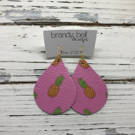 miniZOEY + ZOEY -  Leather Earrings  ||  PINK PINEAPPLE