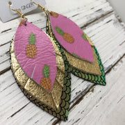 GINGER - Leather Earrings  ||  PINK PINEAPPLE, METALLIC GOLD PEBBLED, METALLIC MERMAID PINK/GREEN/GOLD
