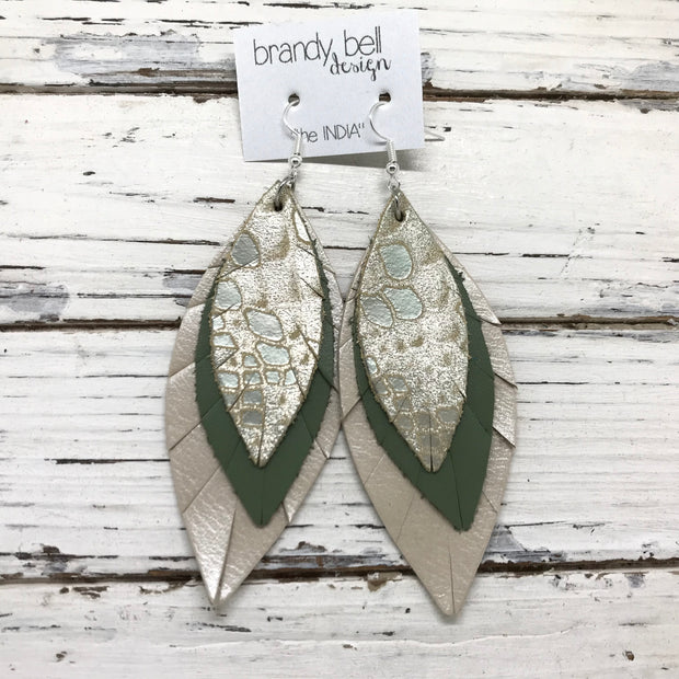 INDIA - Leather Earrings  ||   CHAMPAGNE MYSTIC, AVOCADO GREEN, CHAMPAGNE PEARL