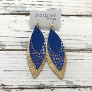 DOROTHY - Leather Earrings  ||  MATTE COBALT BLUE, COBALT WITH METALLIC GOLD, METALLIC GOLD PEBBLED