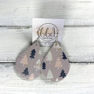 ZOEY (3 sizes available!) Leather Earrings  ||  <BR> NEUTRAL TREES ON CORK