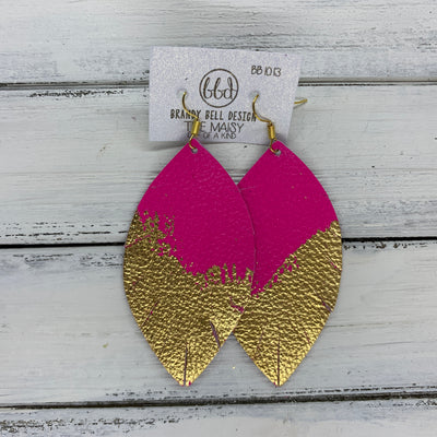 "MAISY - Leather Earrings  ||  ""DIPPED"" COLLECTION - OOAK (one of a kind) NEON PINK WITH GOLD FOIL (BB1013)"