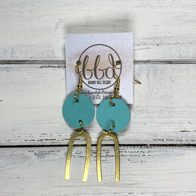 SUEDE + STEEL *Limited Edition* COLLECTION ||  Leather Earrings || GOLD BRASS U-SHAPE, <BR> MATTE ROBINS EGG BLUE