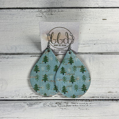 ZOEY (3 sizes available!) Leather Earrings  ||  <BR> TREES ON BLUE ON CORK