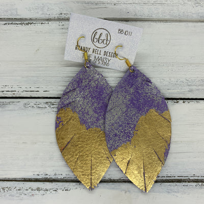 "MAISY - Leather Earrings  ||  ""DIPPED"" COLLECTION - OOAK (one of a kind) DISTRESSED PURPLE & SILVER WITH GOLD FOIL (BB1011)"