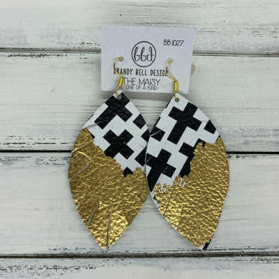 "MAISY - Leather Earrings  ||  ""DIPPED"" COLLECTION - OOAK (one of a kind) BLACK & WHITE GEOMETRIC CROSSES WITH GOLD FOIL (BB1027)"
