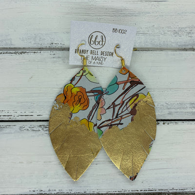 "MAISY - Leather Earrings  ||  ""DIPPED"" COLLECTION - OOAK (one of a kind) WATERCOLOR FLORAL WITH GOLD FOIL (BB1002)"