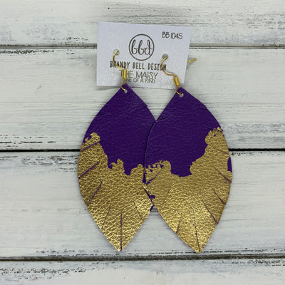 "MAISY - Leather Earrings  ||  ""DIPPED"" COLLECTION - OOAK (one of a kind) MATTE PURPLE WITH GOLD FOIL (BB1045)"