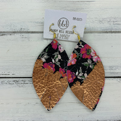 "MAISY - Leather Earrings  ||  ""DIPPED"" COLLECTION - OOAK (one of a kind) PINK FLORAL ON BLACK WITH ROSE GOLD FOIL (BB1023)"