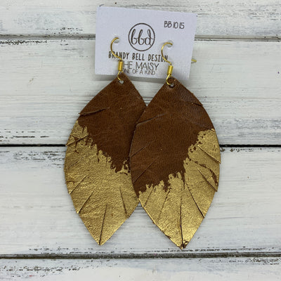 "MAISY - Leather Earrings  ||  ""DIPPED"" COLLECTION - OOAK (one of a kind) DISTRESSED BROWN WITH GOLD FOIL (BB1015)"