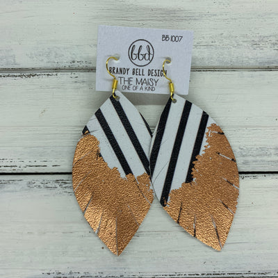 "MAISY - Leather Earrings  ||  ""DIPPED"" COLLECTION - OOAK (one of a kind) BLACK & WHITE STRIPE WITH ROSE  GOLD FOIL (BB1007)"