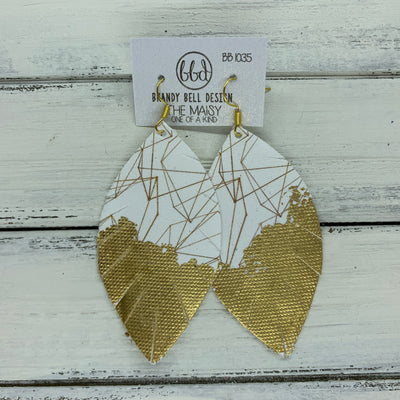 "MAISY - Leather Earrings  ||  ""DIPPED"" COLLECTION - OOAK (one of a kind) WHITE & GOLD GEOMETRIC (thin faux leather) WITH GOLD FOIL (BB1035)"