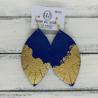 "MAISY - Leather Earrings  ||  ""DIPPED"" COLLECTION - OOAK (one of a kind) COBALT BLUE WITH GOLD FOIL (BB1031)"