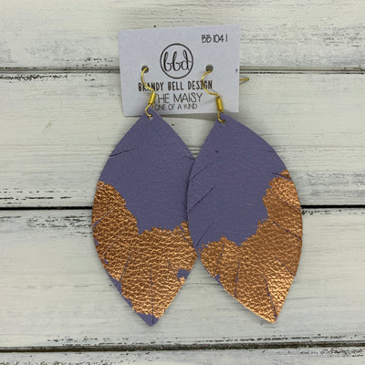 "MAISY - Leather Earrings  ||  ""DIPPED"" COLLECTION - OOAK (one of a kind) LAVENDER WITH ROSE GOLD FOIL (BB1041)"
