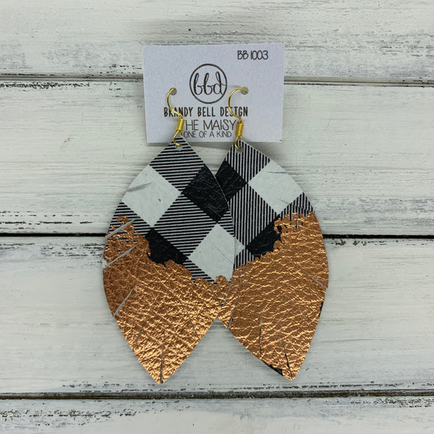 "MAISY - Leather Earrings  ||  ""DIPPED"" COLLECTION - OOAK (one of a kind) BUFFALO PLAID WITH ROSE GOLD FOIL (BB1003)"