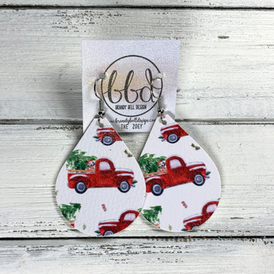 ZOEY (3 sizes available!) -  Leather Earrings  ||  SNOWY RED TRUCK (FAUX LEATHER)