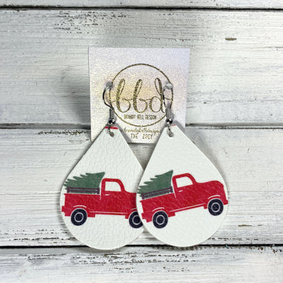 ZOEY (3 sizes available!) -  Leather Earrings  ||  RED TRUCK WITH TREE (FAUX LEATHER)