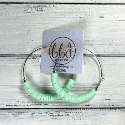 RUTHIA - Rubber Disk Hoop Earrings  ||    MINT GREEN