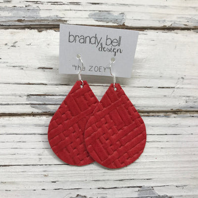 ZOEY (3 sizes available!) - Leather Earrings   ||  RED PANAMA BASKET WEAVE