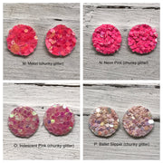 Poppy- 3 PACK (Choose your colors) - Glitter Stud Earrings SHOWN: CC: CHUNKY GREEN, AA: CHRISTMAS, BB: CHUNKY RED