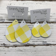 ZOEY (3 sizes available!) -  Leather Earrings  ||  YELLOW & WHITE GINGHAM BUFFALO PLAID