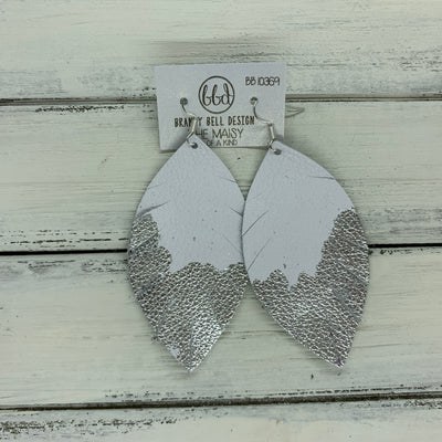 "MAISY - Leather Earrings  ||  ""DIPPED"" COLLECTION - OOAK (one of a kind) WHITE WITH SILVER FOIL (BB10369)"