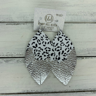 "MAISY - Leather Earrings  ||  ""DIPPED"" COLLECTION - OOAK (one of a kind) BLACK & WHITE CHEETAH WITH SILVER FOIL (BB1057)"