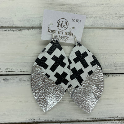 "MAISY - Leather Earrings  ||  ""DIPPED"" COLLECTION - OOAK (one of a kind) BLACK & WHITE GEOMETRIC CROSSES WITH SILVER FOIL (BB1061)"