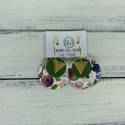 TRIXIE - Leather Earrings  ||    <BR> GOLD TRIANGLE, <BR> MATTE PALM GREEN,  <BR> PEONIES & ROSES (faux leather)