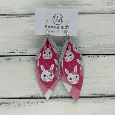 ALLIE -  Leather Earrings  ||  <BR> PINK BUNNIES, <BR> PINK & WHITE BUFFALO PLAID