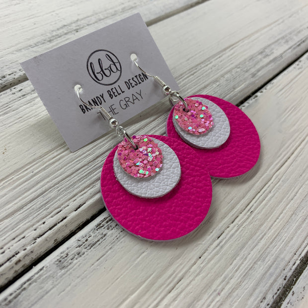 GRAY - Leather Earrings  ||    <BR> BUBBLEGUM PINK GLITTER (faux leather), <BR> MATTE WHITE,  <BR> MATTE NEON PINK