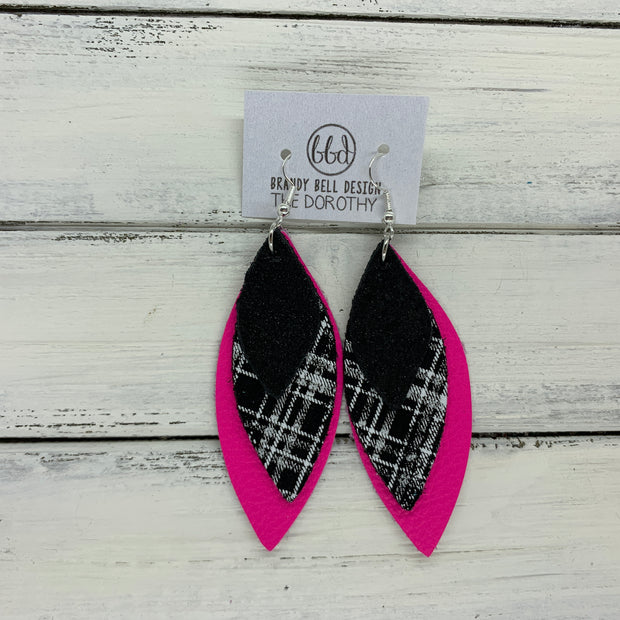 DOROTHY - Leather Earrings  ||  <BR> SHIMMER BLACK, <BR> BLACK & WHITE PLAID, <BR> MATTE NEON PINK