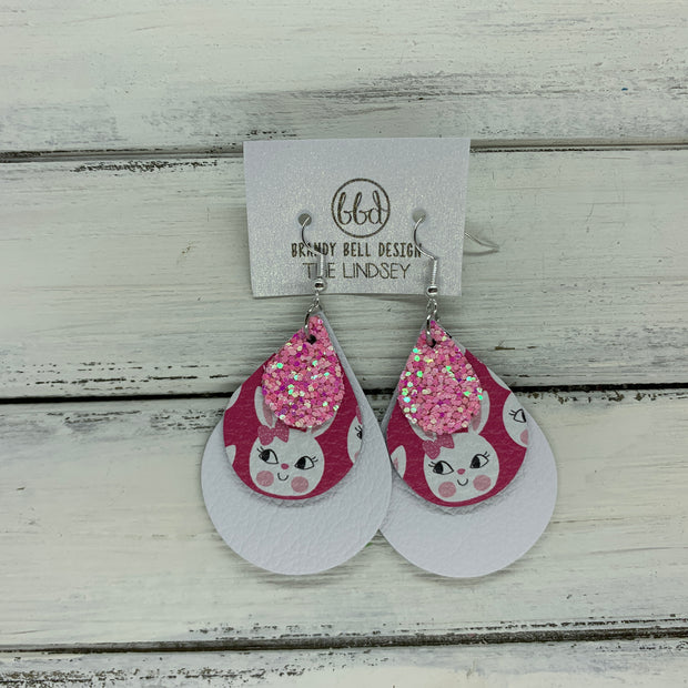 LINDSEY - Leather Earrings  ||   <BR>  BUBBLEGUM PINK GLITTER (FAUX LEATHER), <BR> PINK BUNNIES,  <BR> MATTE WHITE