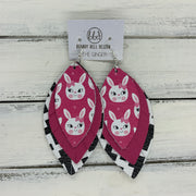 GINGER - Leather Earrings  ||  <BR>  PINK BUNNIES, <BR> MATTE PINK, <BR> BLACK & WHITE CROSSES