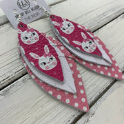 INDIA - Leather Earrings   ||  <BR>  PINK BUNNIES,  <BR> MATTE WHITE, <BR> PINK WITH WHITE POLKADOTS