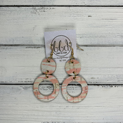 COCO -  Leather Earrings  ||  <BR>PINK & WHITE CORK
