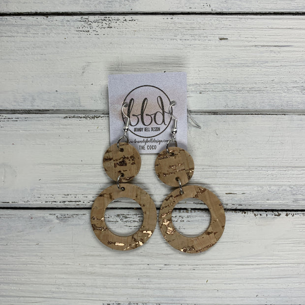 COCO -  Leather Earrings  ||  <BR> ROSE GOLD ACCENT ON CORK