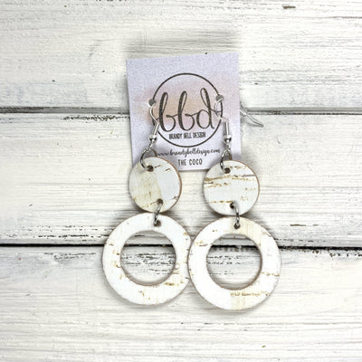 COCO -  Leather Earrings  ||  <BR> WHITE CORK