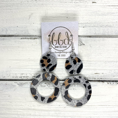 COCO -  Leather Earrings  ||  <BR> SILVER GLITTER CHEETAH