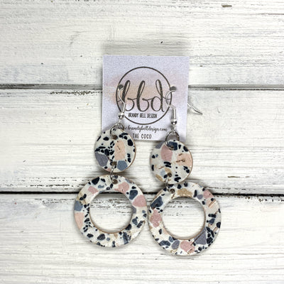 COCO -  Leather Earrings  ||  <BR> GRANITE MOSAIC CORK