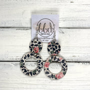 COCO -  Leather Earrings  ||  <BR> PINK FLORAL CHEETAH