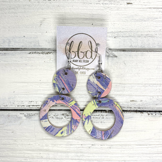 COCO -  Leather Earrings  ||  <BR> 90's PURPLE BRUSHSTROKES CORK ON LEATHER
