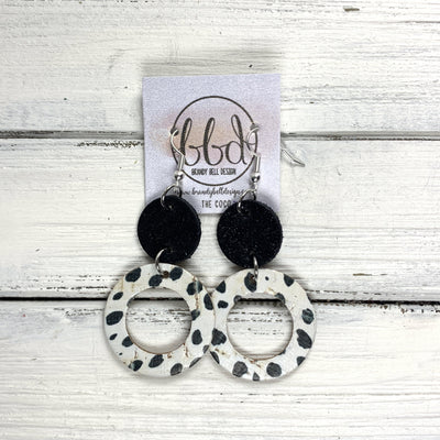 COCO -  Leather Earrings  ||  <BR> SHIMMER BLACK, <BR> BLACK & WHITE SPOTS CORK