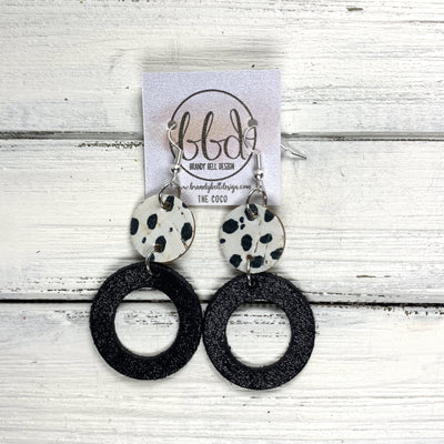 COCO -  Leather Earrings  ||  <BR> BLACK & WHITE SPOTS, <BR> SHIMMER BLACK
