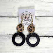 COCO -  Leather Earrings  ||  <BR> CARAMEL CHEETAH, <BR> SHIMMER BLACK