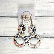 COCO -  Leather Earrings  ||  <BR> CORAL FLORAL CHEETAH