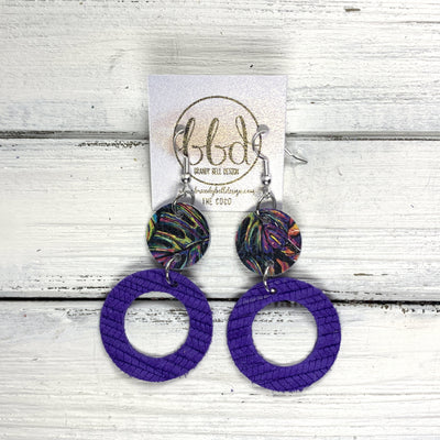 COCO -  Leather Earrings  ||  <BR> MULTICOLOR PALMS, <BR> PURPLE PALM