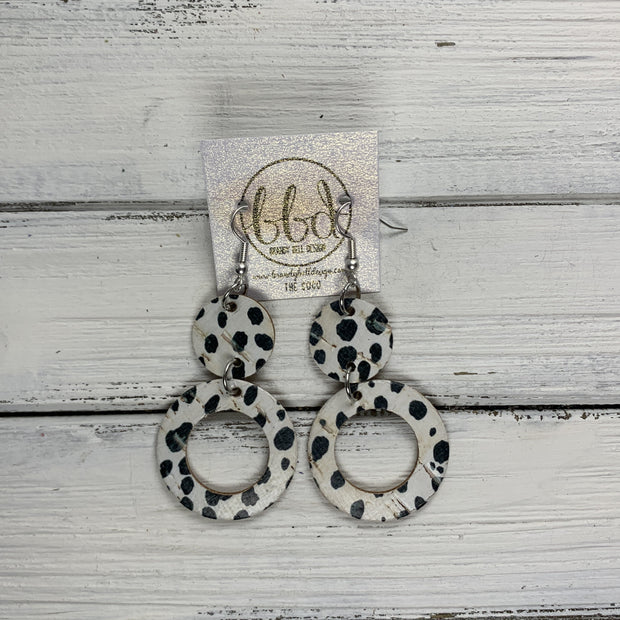 COCO -  Leather Earrings  ||  <BR> BLACK & WHITE SPOTS CORK