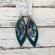 ALLIE -  Leather Earrings  || VINTAGE FLORAL, SHIMMER TEAL